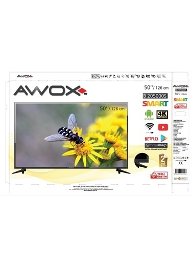 AWOX 50 İnç B205000S 127 Ekran 4K Ultra Hd Smart Android LED Tv Renkli
